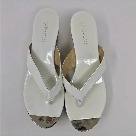 0b1cac5e0 Jimmy Choo Shoes - Jimmy Choo White patent cork wedge thong sandals